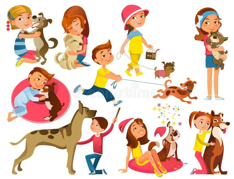 Crianças com os animais de estimação ajustados ilustração stock
