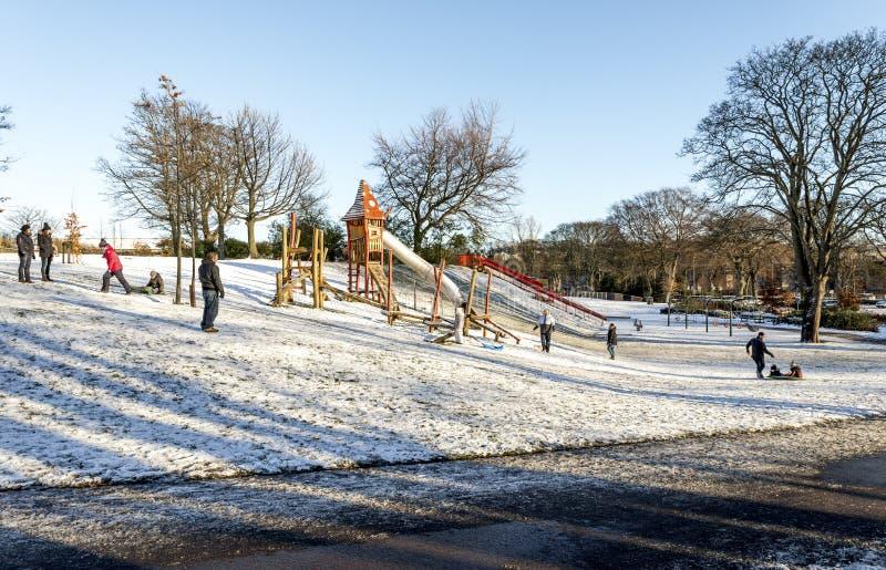 Crianças com pais desfrutam de carruagens de declive na neve em Duthie Park, Aberdeen, Escócia imagens de stock royalty free