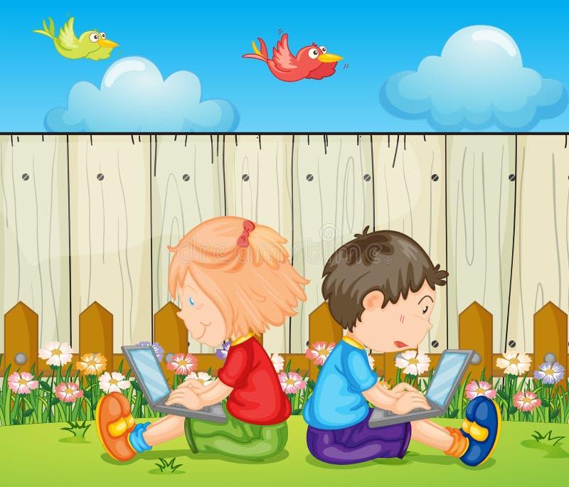 Crianças com portáteis ilustração do vetor