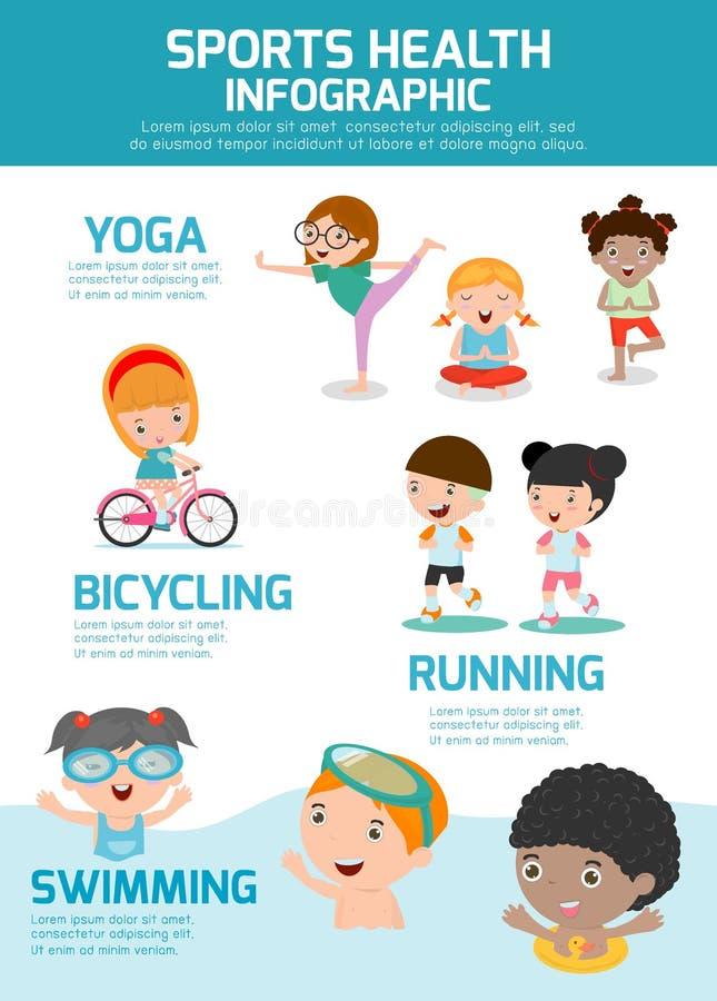 Crianças com saúde Infographics dos esportes, grupo de exercício dos povos do conceito da saúde dos esportes ilustração royalty free