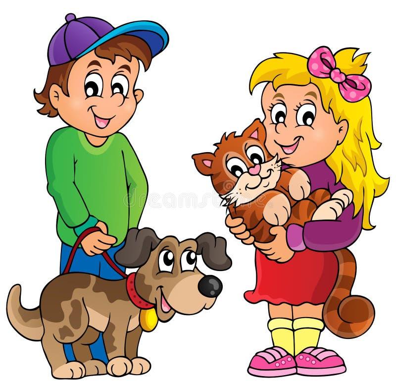 Crianças com tema 1 dos animais de estimação ilustração royalty free
