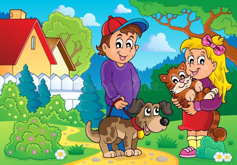 Crianças com tema 2 dos animais de estimação ilustração stock