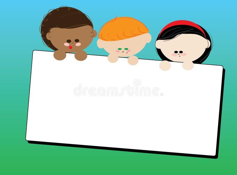 Crianças com um cartão ilustração royalty free