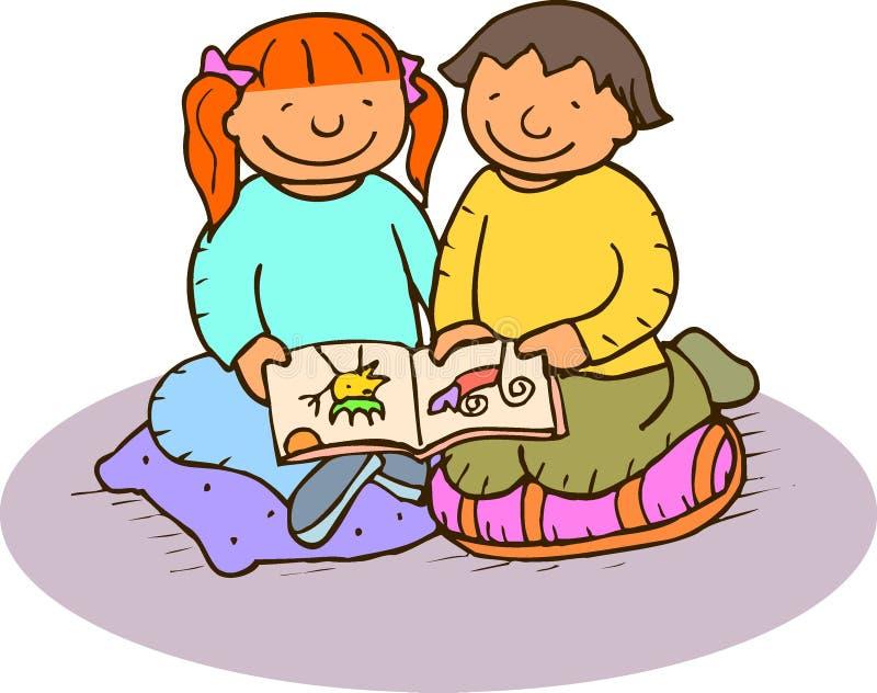 Crianças com um livro ilustração stock