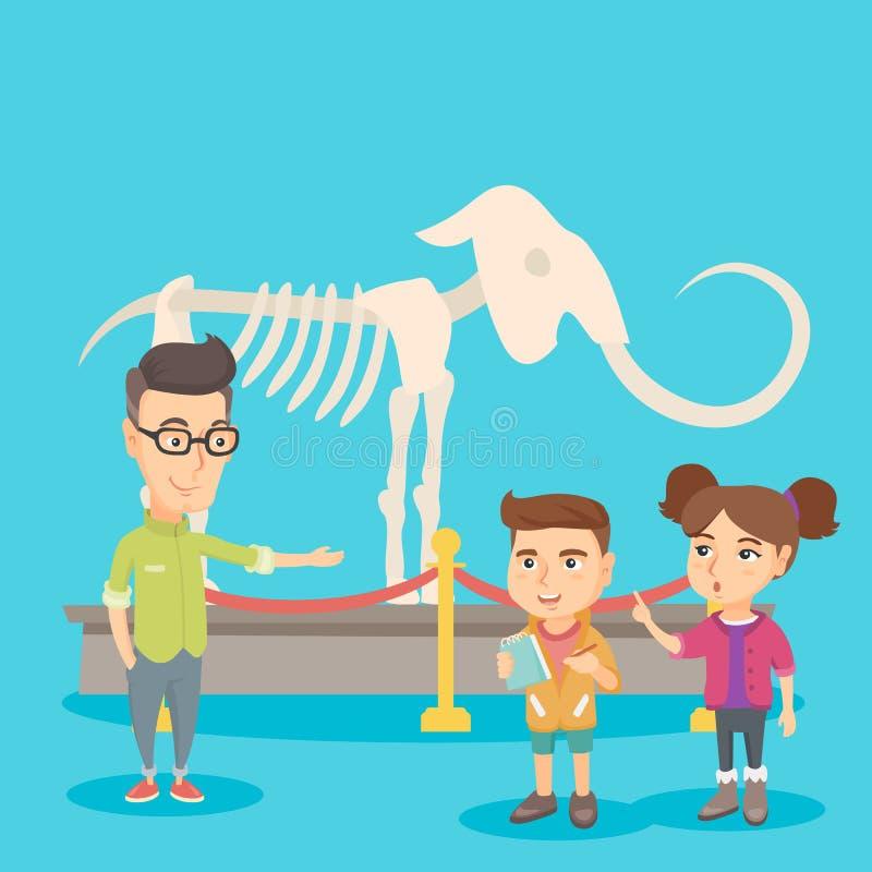 Crianças com um professor que estuda um esqueleto no museu ilustração stock