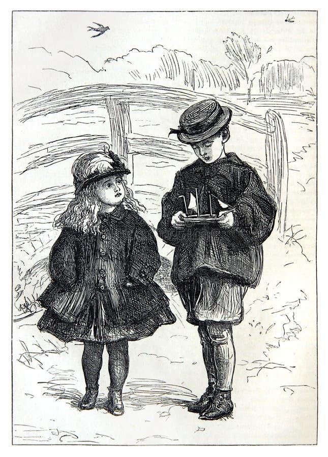 Crianças com um veleiro do brinquedo ilustração do vetor
