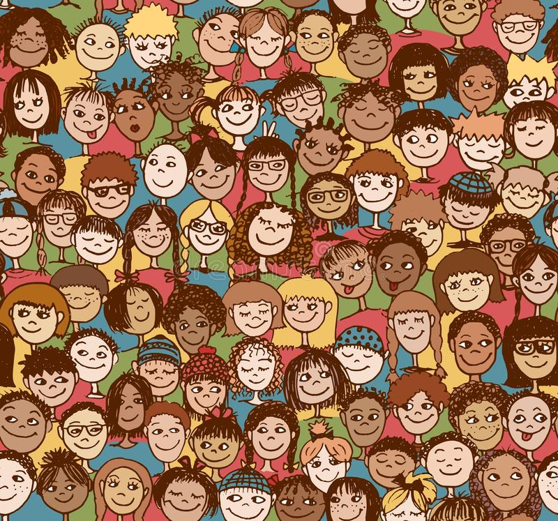 Crianças/crianças/teste padrão sem emenda ilustração royalty free