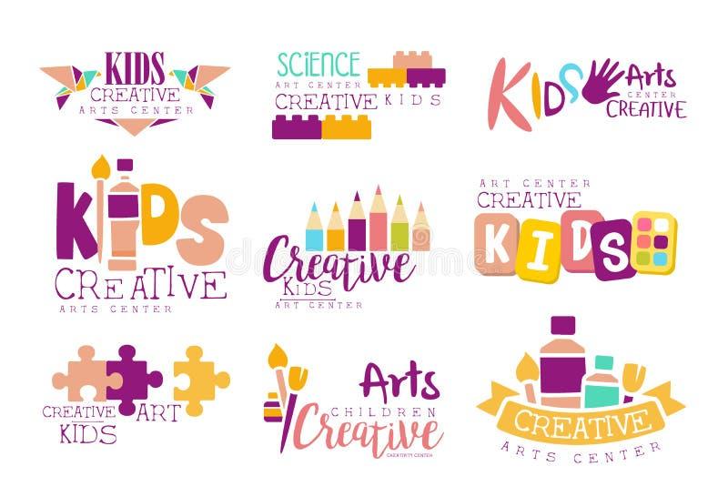 Crianças criativas e arte e faculdade criadora relativa à promoção de Logo Set With Symbols Of do molde da classe da ciência, pin ilustração royalty free