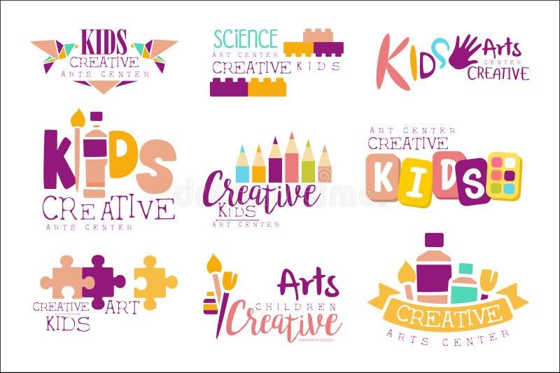 Crianças criativas e molde Logo Set With Symbols Of relativo à promoção Art Creativity da classe da ciência, origâmi de pintura ilustração stock