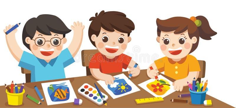 Crianças criativas felizes que jogam, pintura, esboçando ilustração do vetor