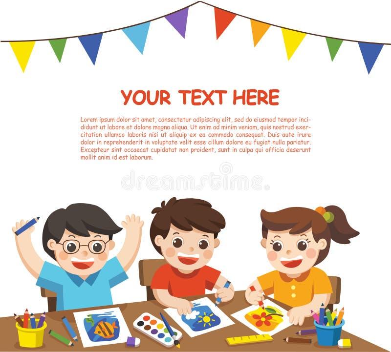 Crianças criativas felizes que jogam, pintura, esboçando na classe de arte ilustração stock