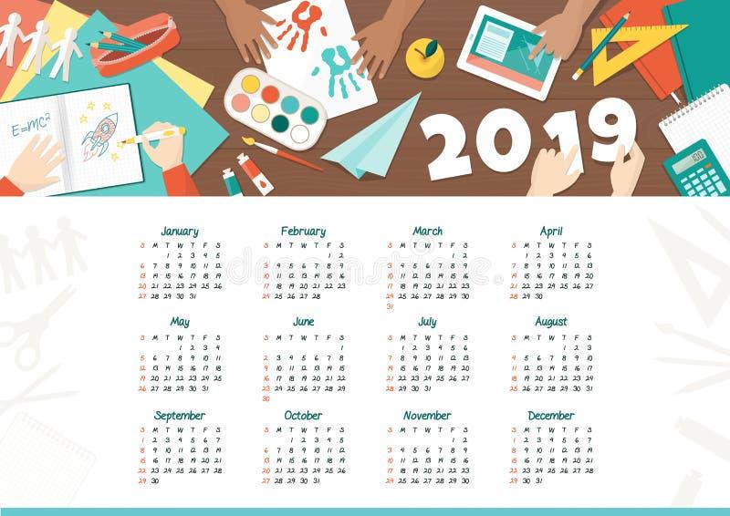 Crianças criativas no calendário 2019 da escola ilustração stock