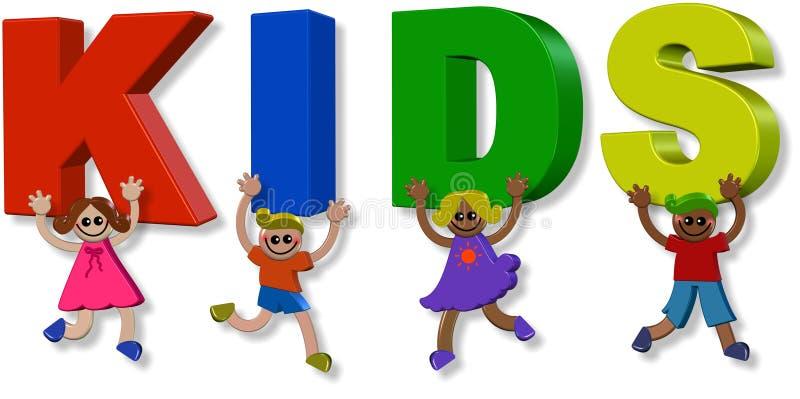crianças 3d felizes ilustração royalty free