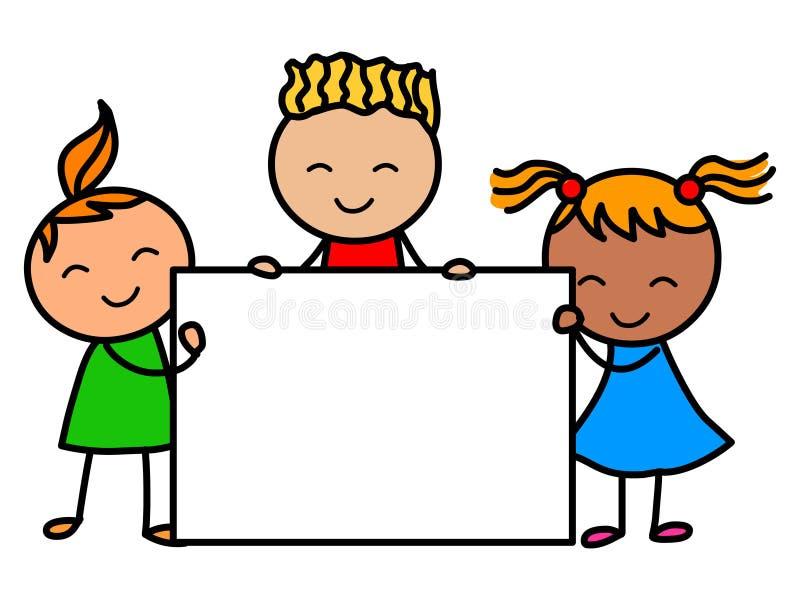 Crianças da bandeira Crianças dos desenhos animados que guardam a bandeira ilustração do vetor