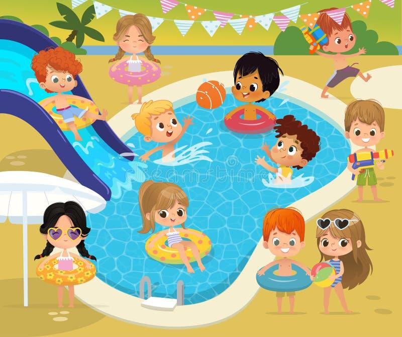 Crianças da festa na piscina ?hildren tem o divertimento em uma associação Menina no círculo inflável Férias de verão engraçadas  ilustração royalty free