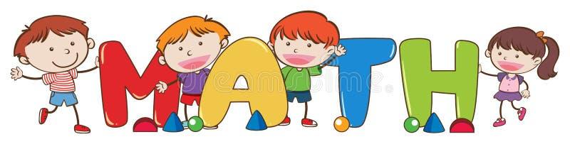 Crianças da garatuja com palavra da matemática ilustração do vetor