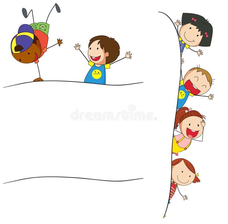 Crianças da garatuja no molde vazio ilustração do vetor