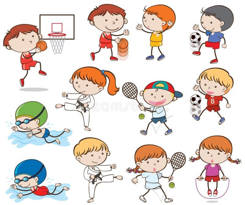 Crianças da garatuja que fazem atividades do esporte ilustração do vetor