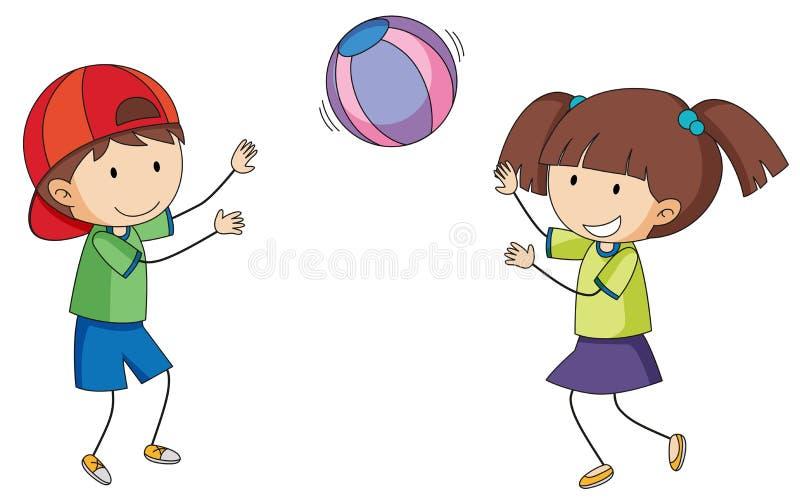Crianças da garatuja que jogam a bola ilustração stock