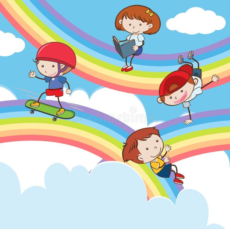Crianças da garatuja que jogam no arco-íris ilustração royalty free
