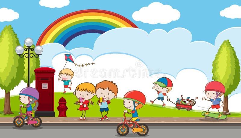 Crianças da garatuja que jogam no campo de jogos ilustração do vetor