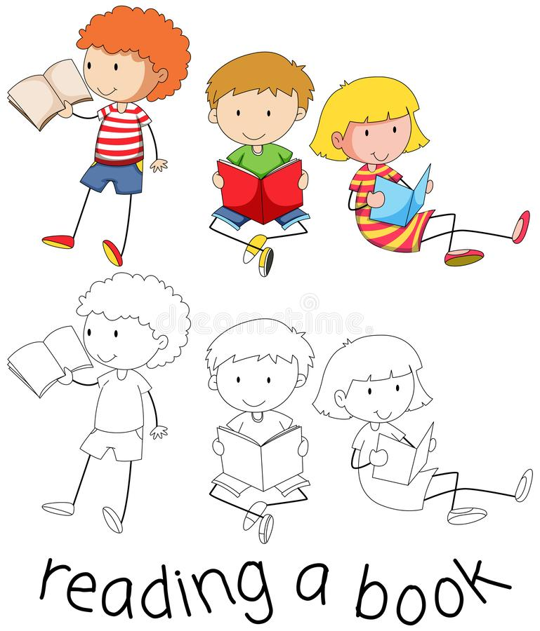 Crianças da garatuja que leem um livro ilustração stock