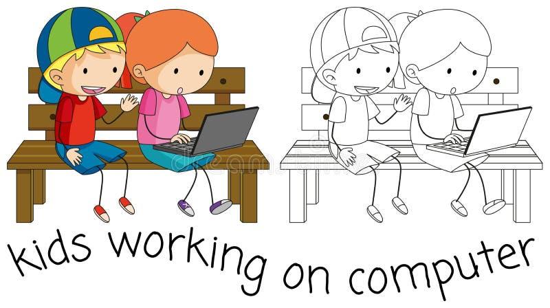 Crianças da garatuja que trabalham no computador ilustração do vetor