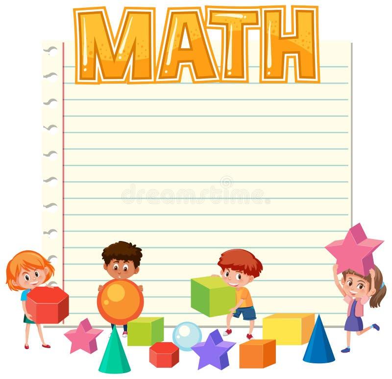 Crianças da matemática no molde da nota ilustração do vetor