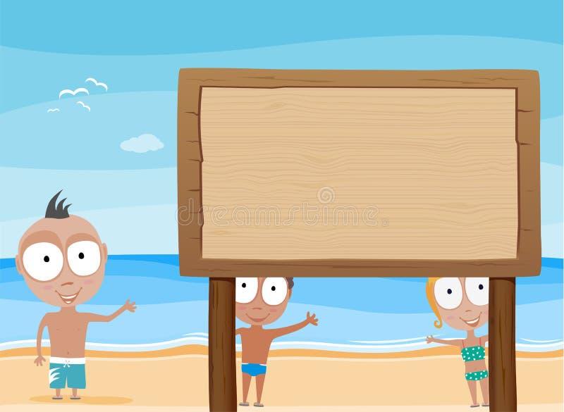 Crianças da praia com placa de madeira ilustração royalty free