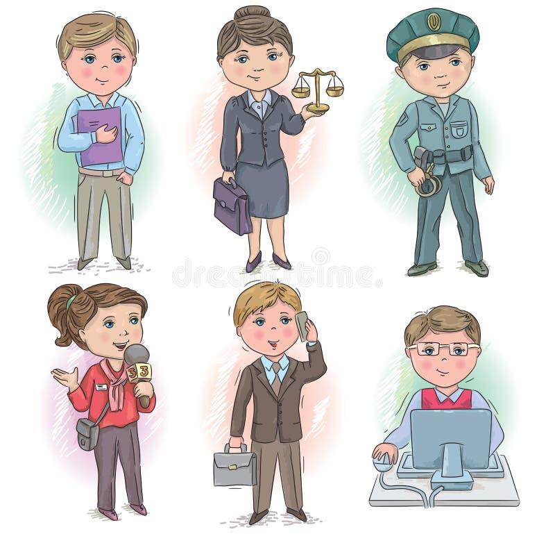Crianças 5 da profissão ilustração stock