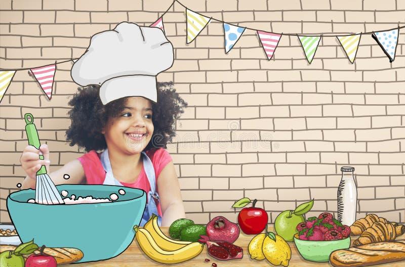Crianças das crianças que cozinham o conceito do divertimento da cozinha imagem de stock