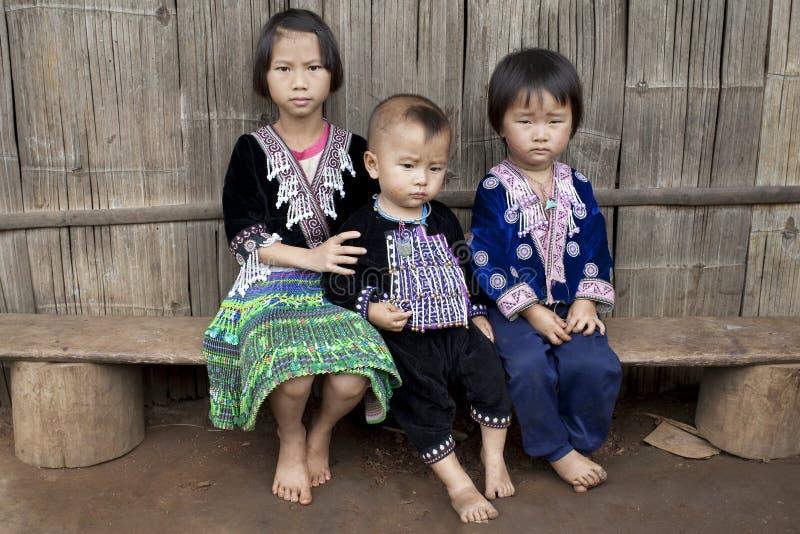 Crianças de Ásia, grupo étnico Meo, Hmong fotografia de stock