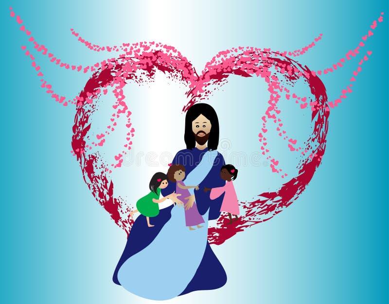 Crianças de amor de Jesus ilustração stock