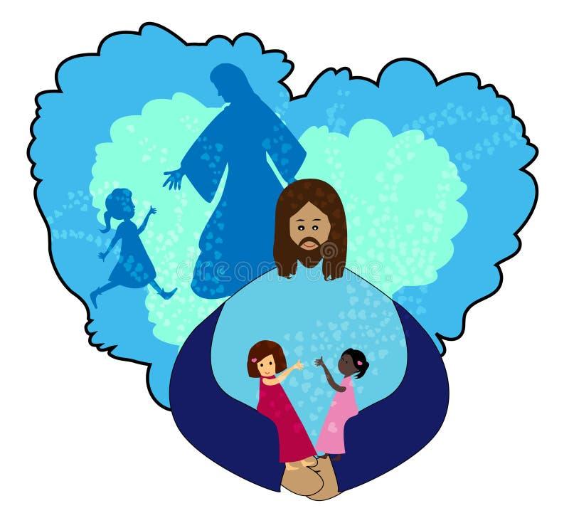 Crianças de amor de Jesus ilustração royalty free