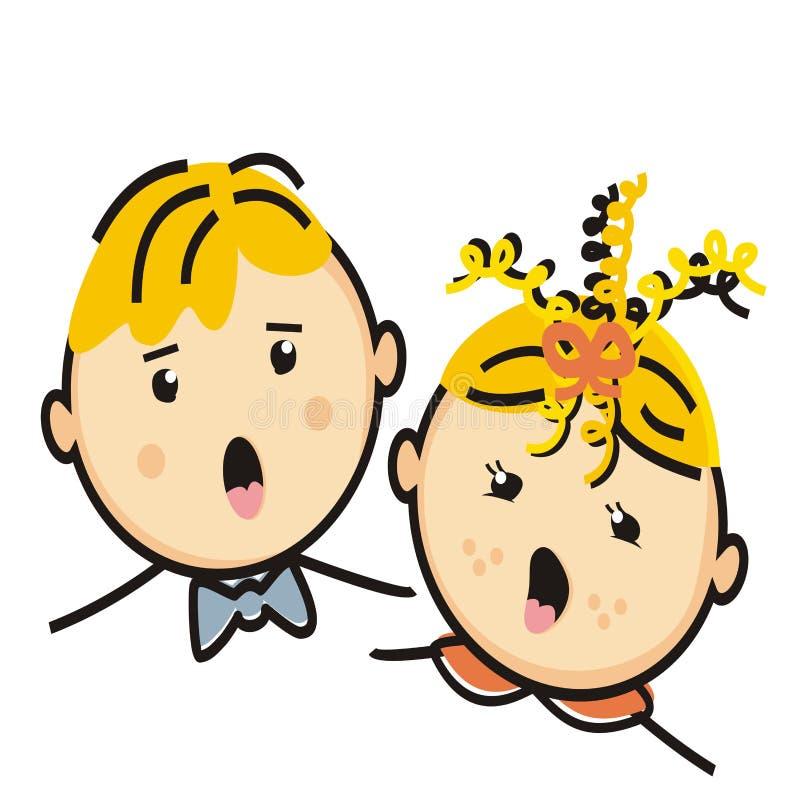 Crianças de canto ilustração royalty free