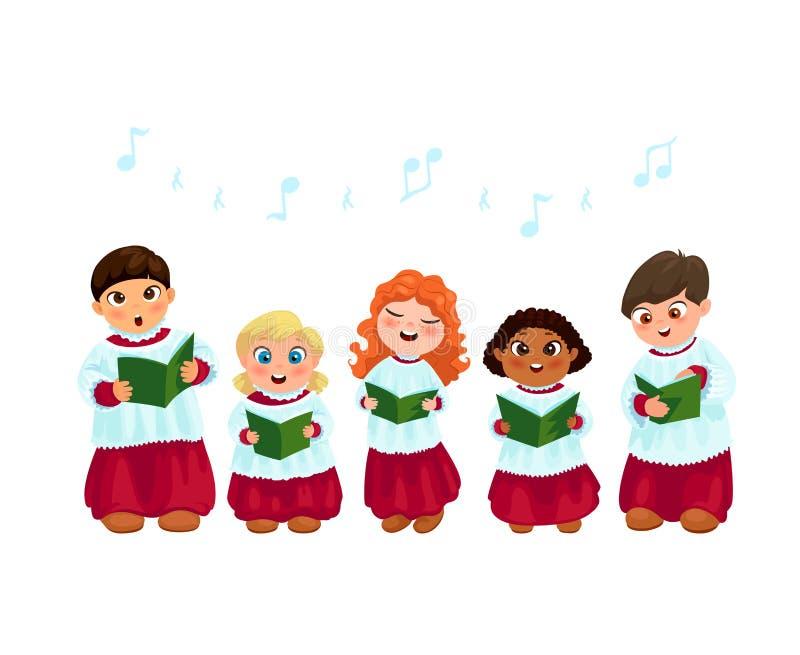 Crianças de Caroling ajustadas ilustração do vetor