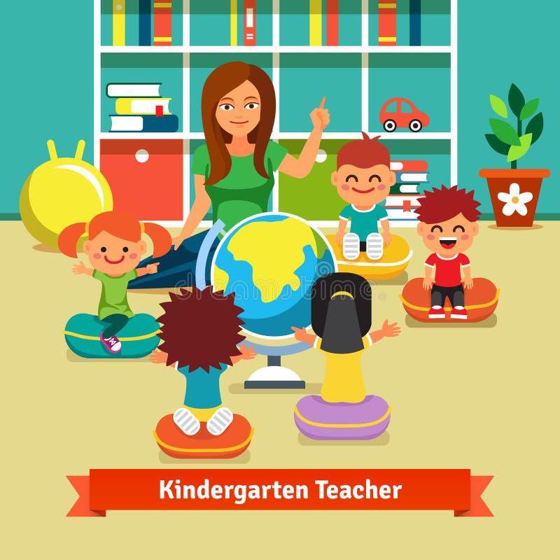 Crianças de ensino do professor de jardim de infância geografia ilustração do vetor