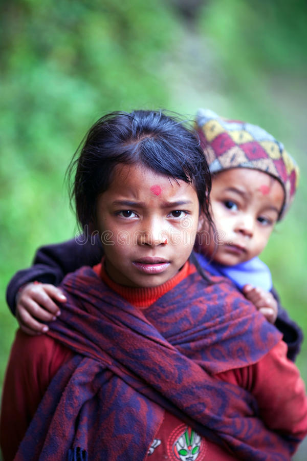 Crianças de Gurung, Nepal fotografia de stock royalty free