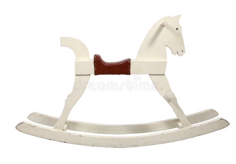 Crianças de madeira brancas da cadeira do cavalo de balanço imagens de stock