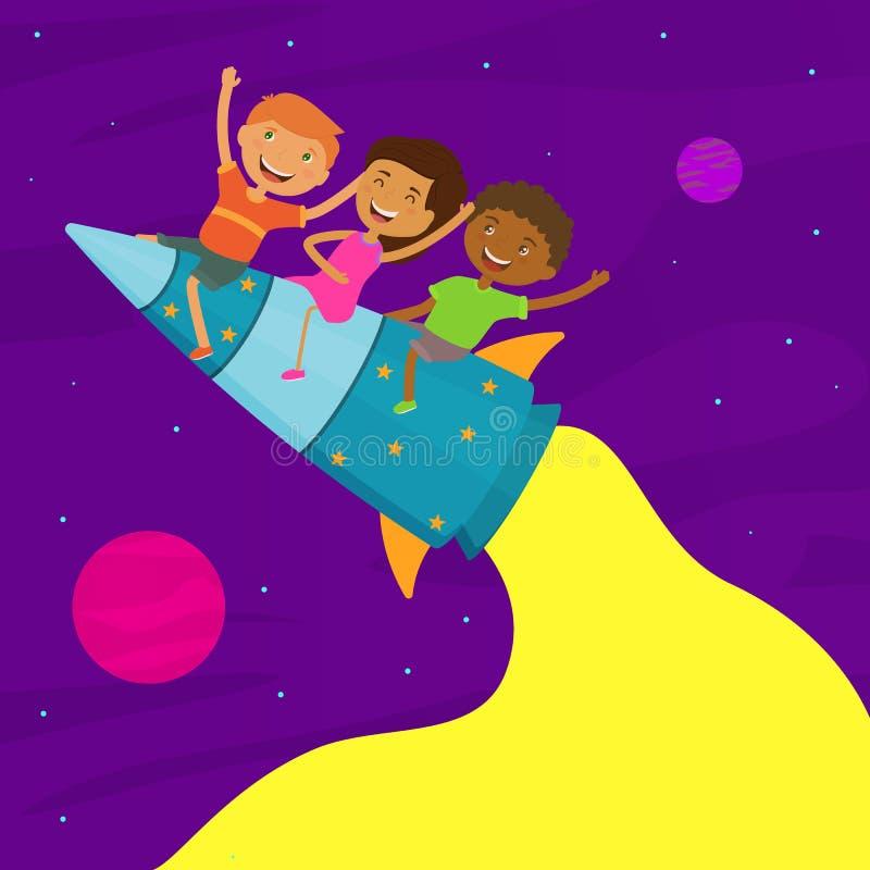 Crianças de nacionalidade diferente se divertindo juntos Crianças felizes voam no foguete no espaço Plano de fundo do vetor, mode ilustração stock