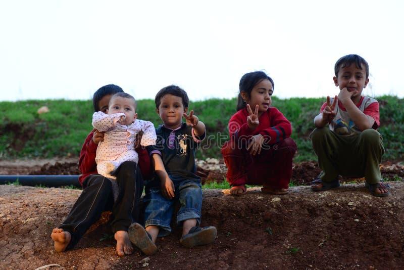 Crianças de refugiados sírios foto de stock