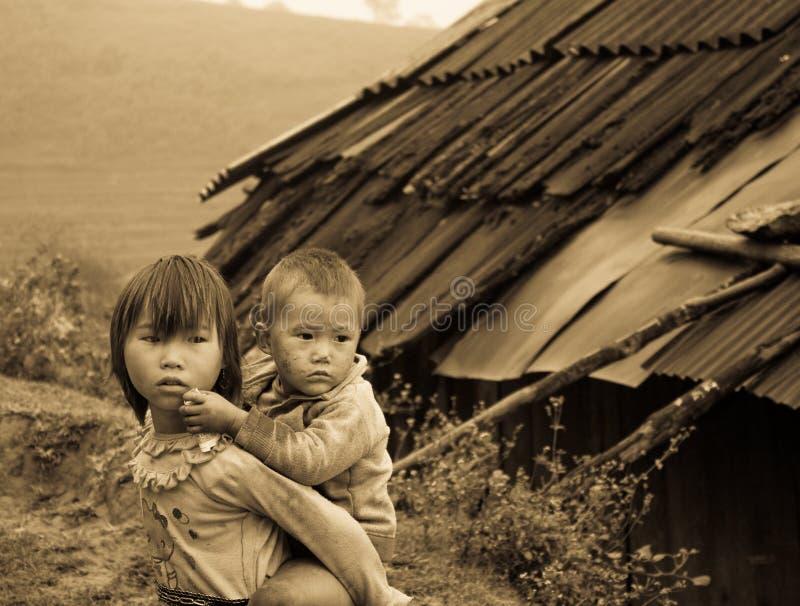 Crianças de Sapa, Vietnam de Zao fotos de stock