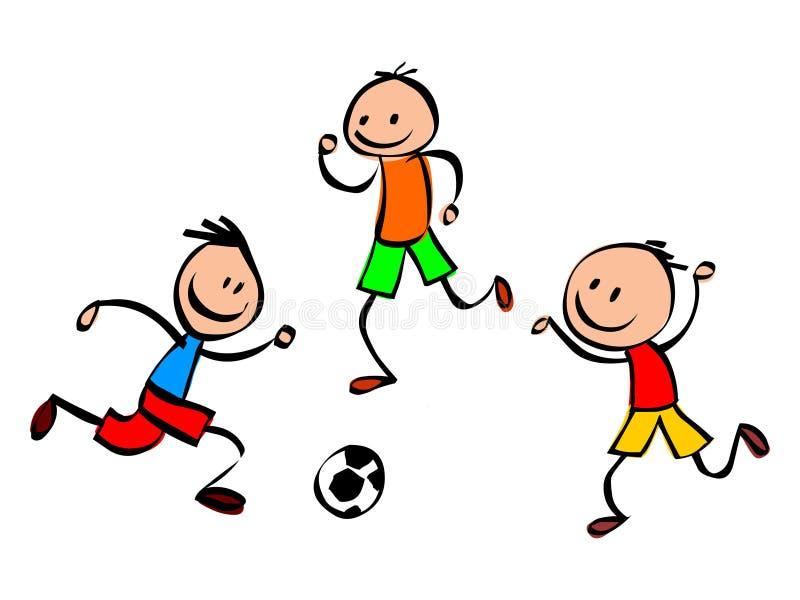 Crianças de Soccar Imagem feliz do estoque do vetor das crianças Miúdos que jogam o futebol ilustração royalty free