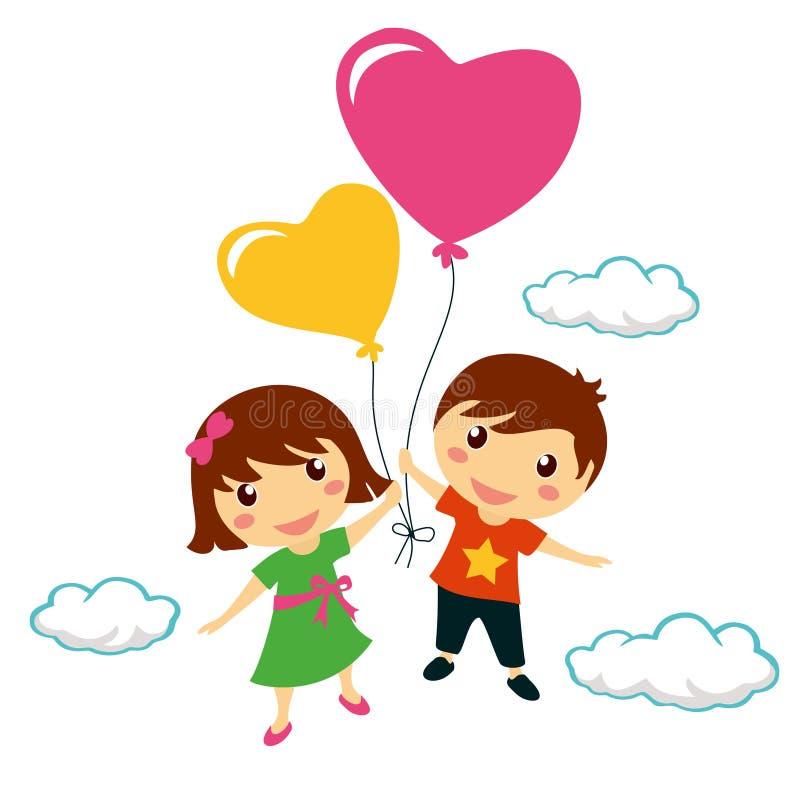 Crianças de sorriso engraçadas que guardam balões do coração ilustração royalty free