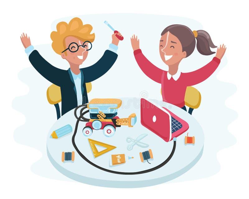 Crianças de sorriso que sentam-se em portáteis em torno do robô esperto que está na tabela na sala de aula da escola ilustração royalty free