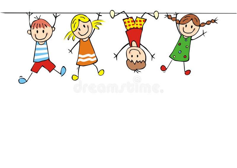 Crianças de suspensão, ícone do vetor, ilustração criativa ilustração stock