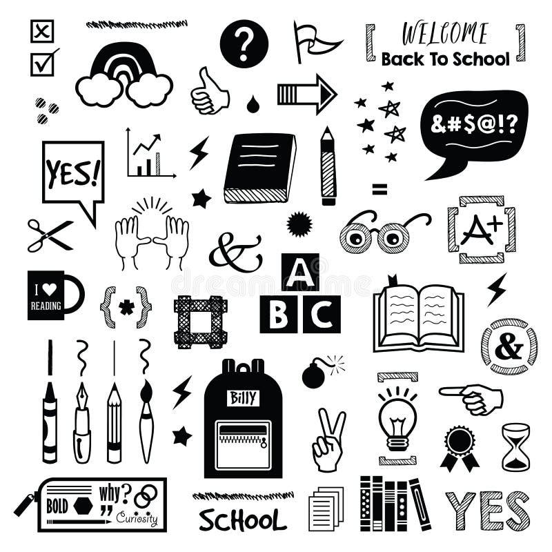 Crianças de tinta preta e da silhueta de volta à escola e aos ícones educacionais ajustados no branco fotografia de stock