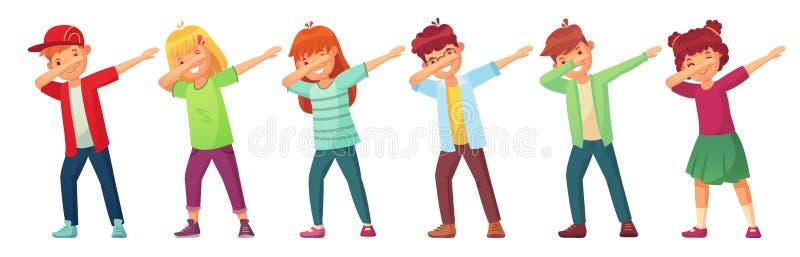 Crianças de toque ligeiro Adolescentes na pose da dança da solha, no desempenho da dança da criança da escola e no adolescente fa ilustração stock