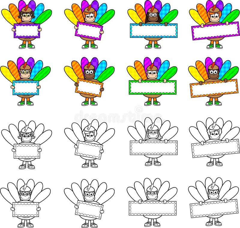 Crianças de Turquia da ação de graças com sinais ilustração do vetor