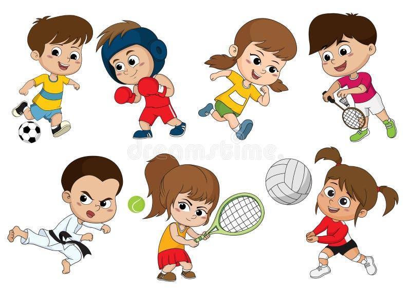 Crianças de vários tipos de esportes, tais como o futebol, encaixotamento, corrida ilustração stock